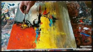 Acrylic abstract painting demonstration #Palette knife blending thumbnail