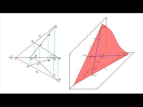 Как построить следы плоскости треугольника