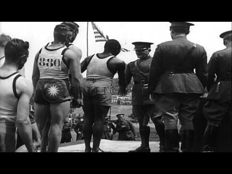 General John J. Pershing presents awards to athletes and army officers at the All...HD Stock Footage