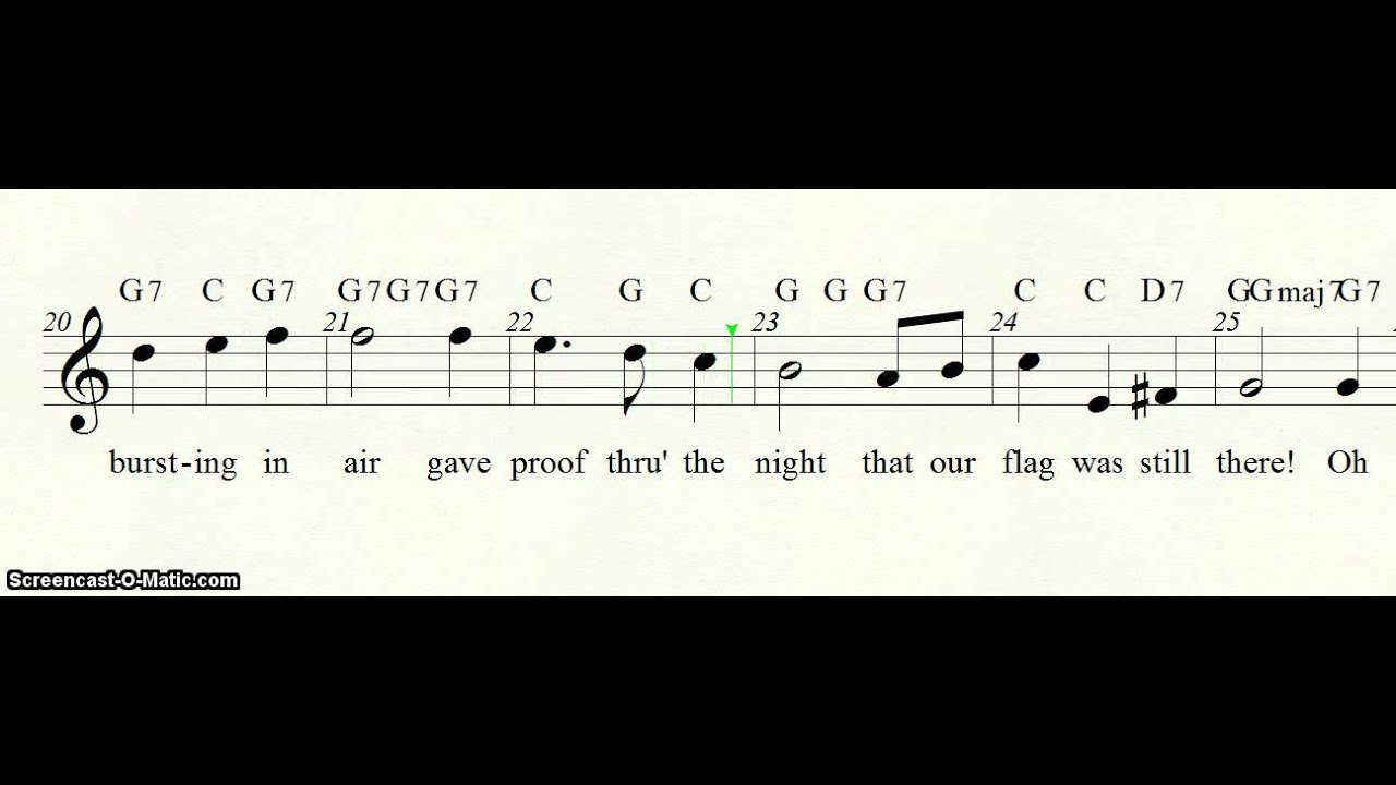 Star Spangled Banner With Lyrics For Recorder Youtube
