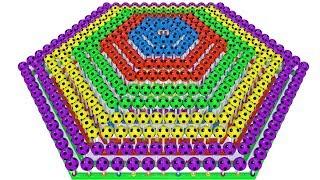 Lot of 3d Lollipops of Soccer Balls form Pyramid of Rainbow Colors