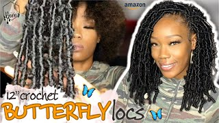 "Pre-Wrapped Crochet BUTTERFLY LOCS 🦋 12"" Distressed Faux Locs From AMAZON 😍 Feat. TOYOTRESS 🎀"