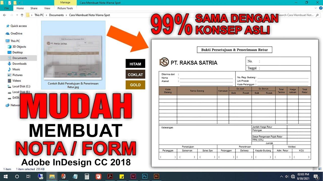 cara setting nota | cara design nota kwitansi | cara membuat Design nota | Adobe InDesign CC 2018