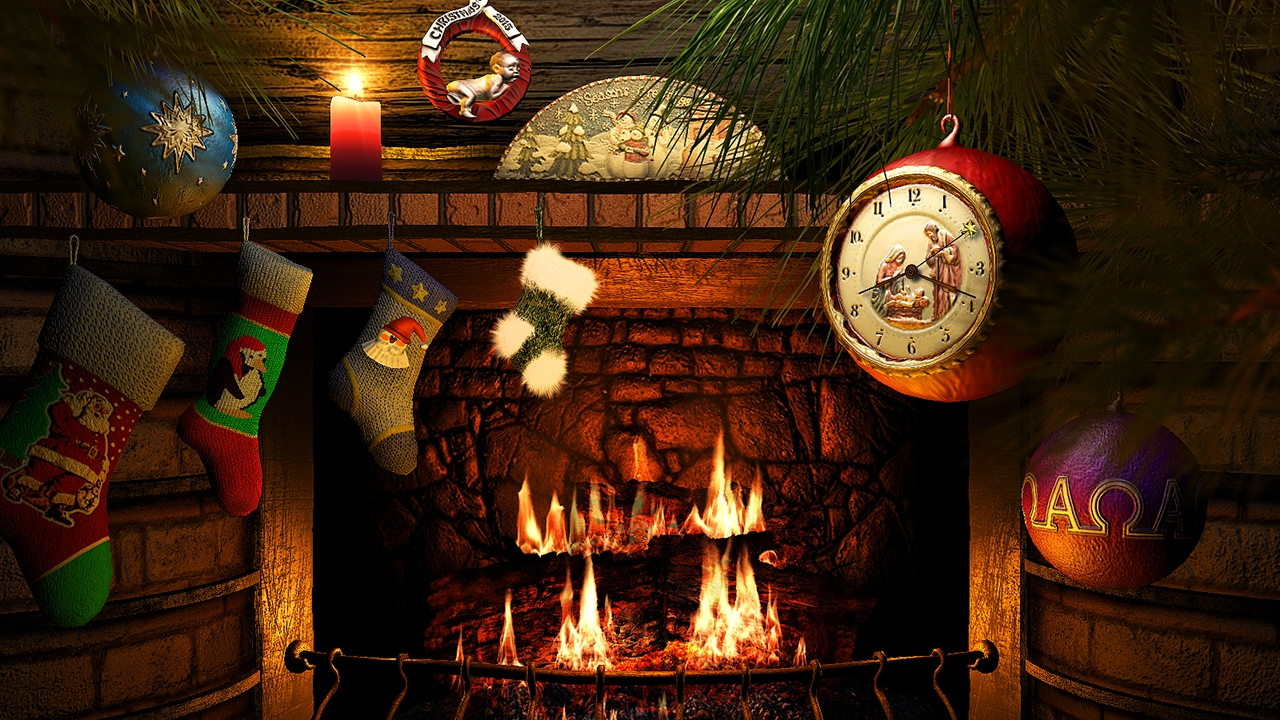 Fireside Christmas 3D Screensaver & Live Fireplace