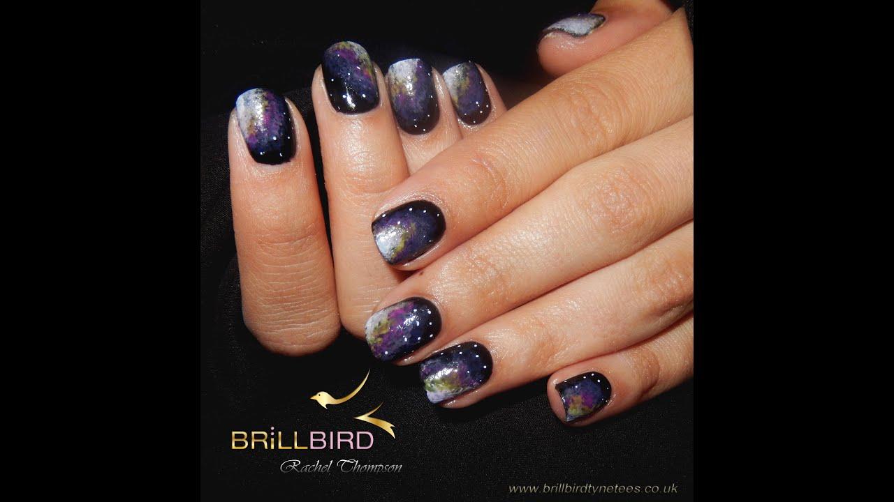galaxy gel nails - nail art - YouTube