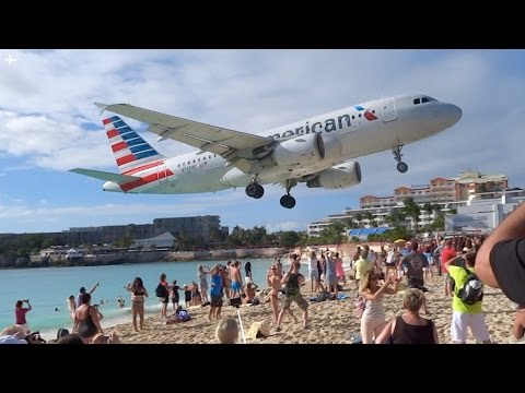 Extremely Low Landing at St Maarten Princess Juliana Airport- American Airlines A319