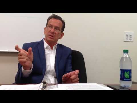 Connecticut Gov. Dannel Malloy speaks to the New Haven Register Editorial Board