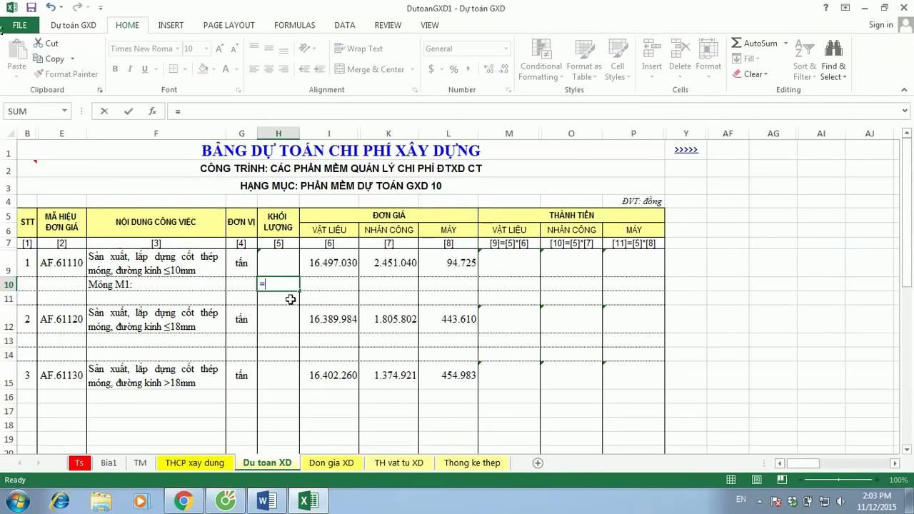 Hướng dẫn bảng thống kê thép – Dự toán GXD 10