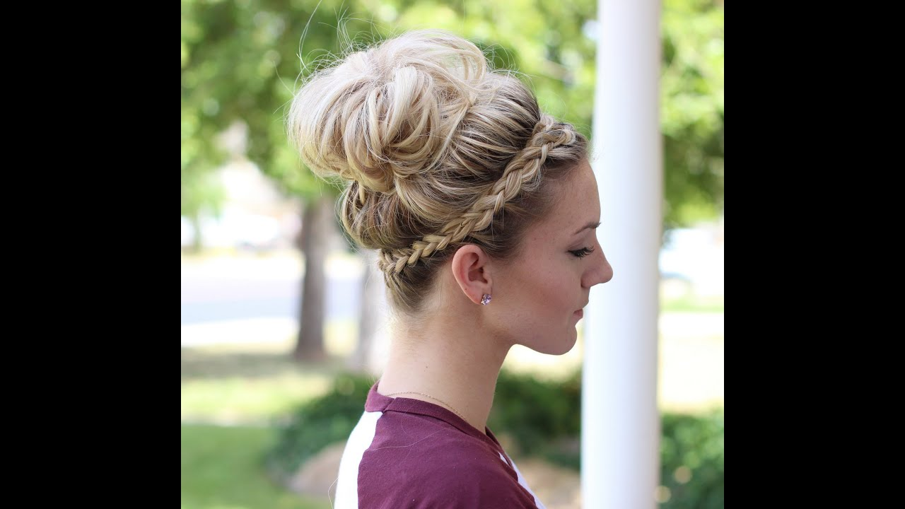 How to: Crown Braid + Messy Bun - YouTube