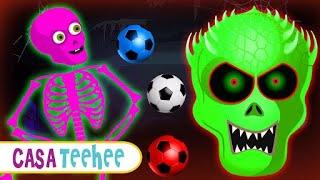 Futebol Com Bolas Coloridas Na Casa Teehee com esqueletos | Aprender as Cores para Criancas