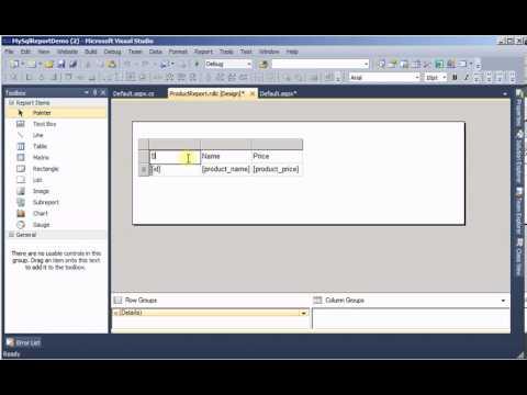 Create RDLC Report (using C# code) in ASP Net using MySQL