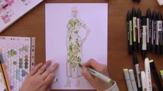 Drawing Fashion. D&G ss16 dress with 3D Flowers