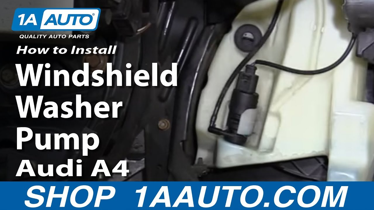 replace windshield washer pump   audi  youtube