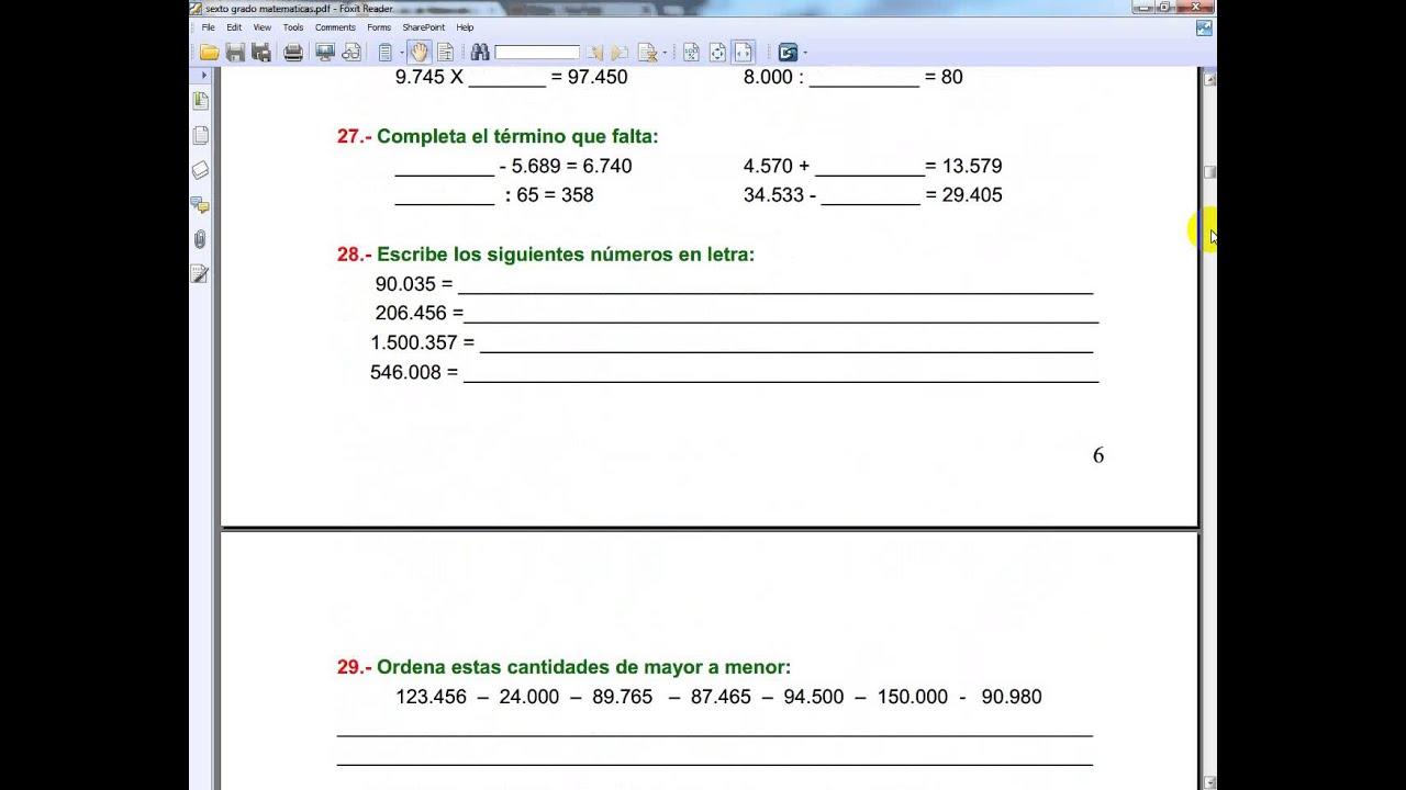 Ejercicios De Matematicas Para Sexto Grado De Primaria
