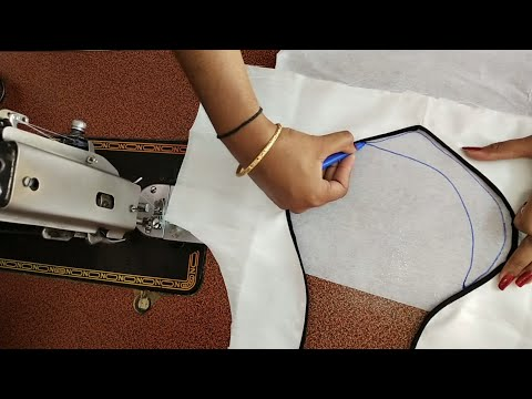 Blouse design cutting and stitching /easy patchwork blouse back neck designs