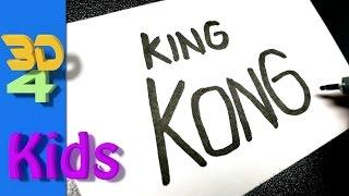Turn word into cartoon draw very Easy ! KING KONG wordtoon #25