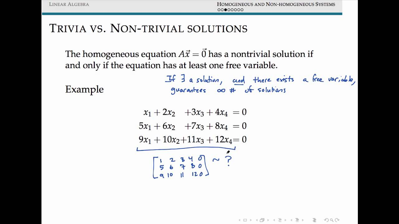 Homogeneous And Nonhomogeneous Systems Of Linear Equations