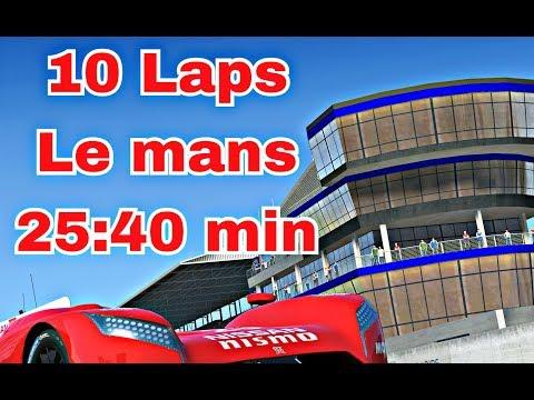 Lemans 10 Laps: 25:40 best Lap: 2:26,012 with cutting Nissan