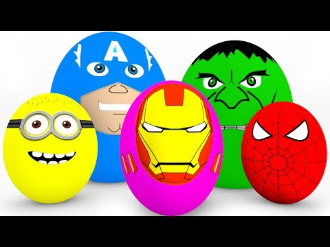 Thumbnail: Learn Colors SURPRISE EGGS for Kids - Cars Truck Educational Video - Superheroes for Babies