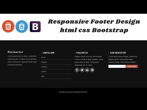 How to Design Responsive Footer with html css and Bootstrap | Footer Design html css thumbnail