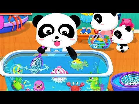 Baby Panda Plays with Fishes |  Go Shopping in Supermarket | Animation & Kids Songs | BabyBus