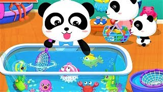 Download Mp3 Baby Panda Plays With Fishes |  Go Shopping In Supermarket | Animation & Kid