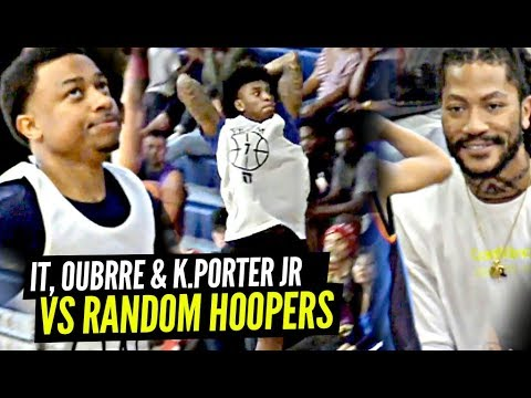 Isaiah Thomas, Kelly Oubre & Kevin Porter Jr vs RANDOM Hoopers Got CRAZY w/ Derrick Rose Watching!!