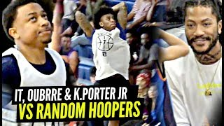 Isaiah Thomas, Kelly Oubre & Kevin Porter Jr vs RANDOM Hoopers Got CRAZY w/ Derrick Rose Watching!!