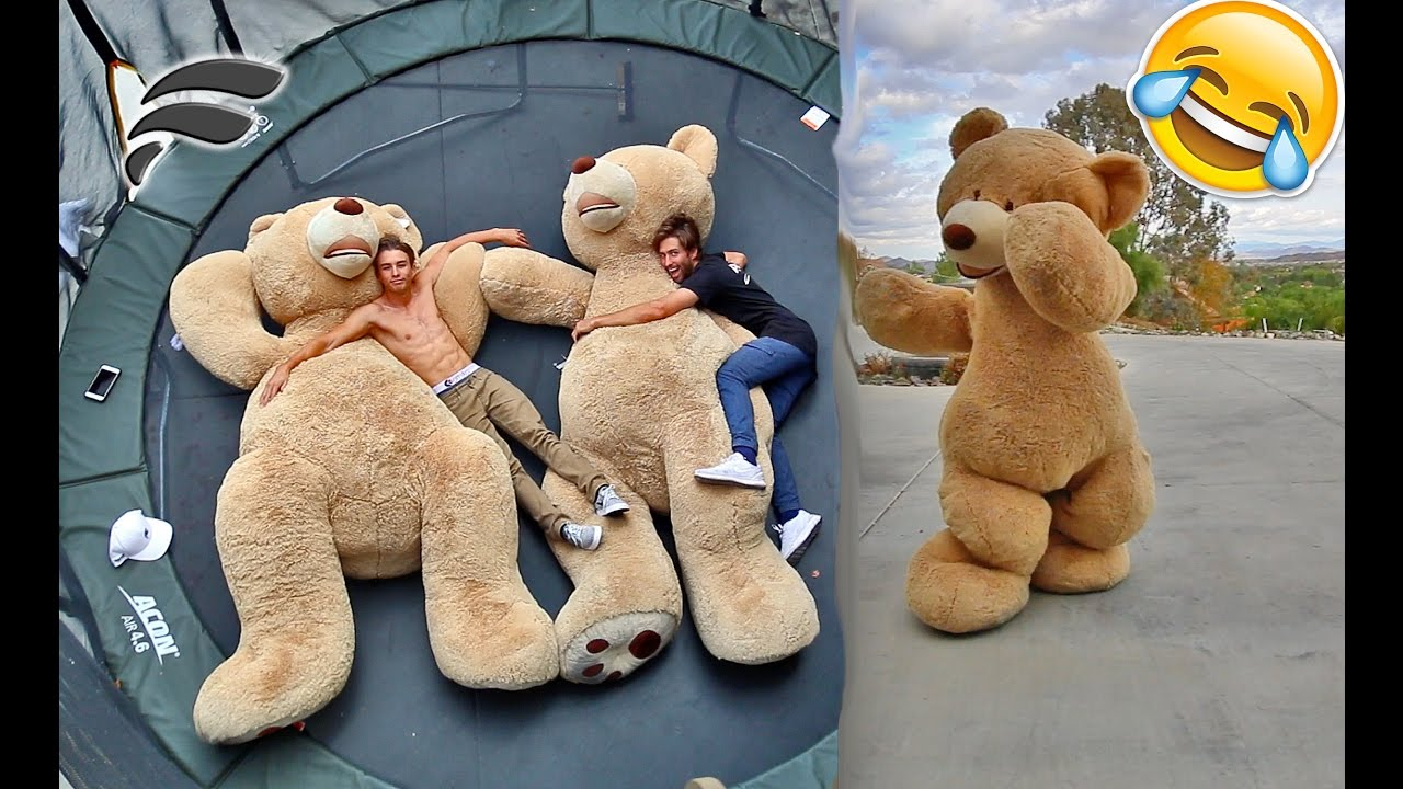 FUNNY TEDDY BEAR COSTUME TRAMPOLINE TRICKS YouTube