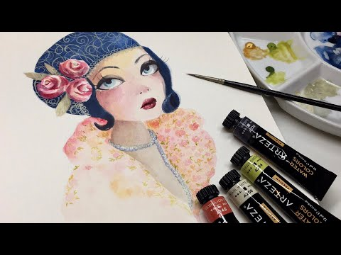 Arteza watercolors- Metallic gouache- illustration- speed painting