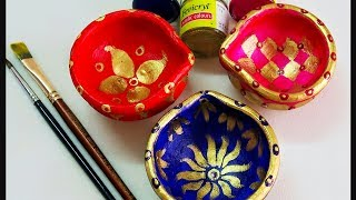 Diwali Decor DIY | Diya Decoration Ideas | Easy Diya painting | DIY Diwali Decor Ideas
