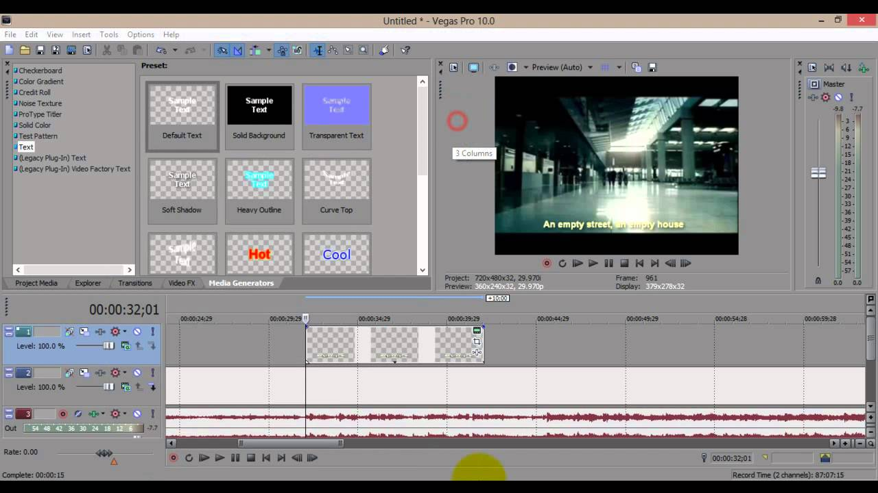 How to add song lyric by using Sony Vegas Pro 10