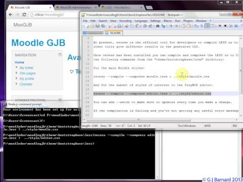 Using 'recess' on Windows to compile the 'less css' files for the 'Clean' theme.