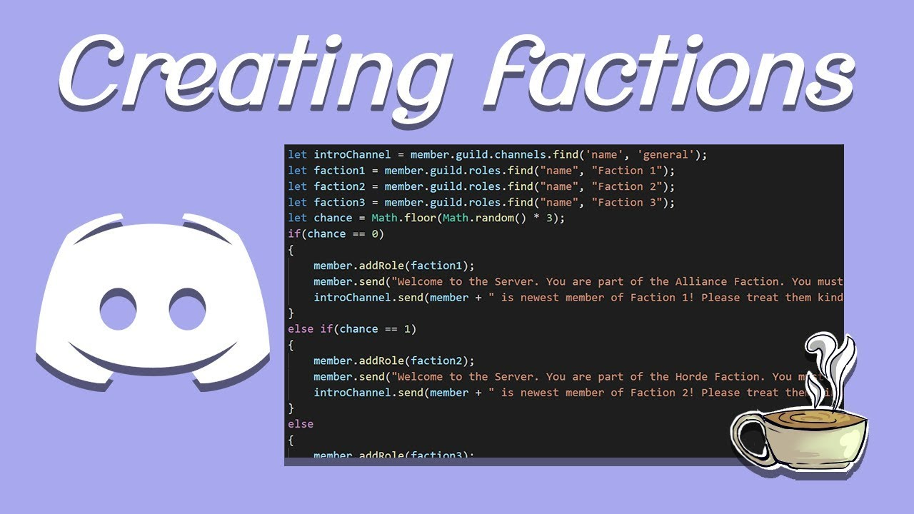 Coding Your Own Discord Bot - Discord js - Creating Factions