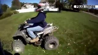 POLICE CHASES #1 - Quads, sportbikes, cruisers, and dirtbikes escape police  || Police Station