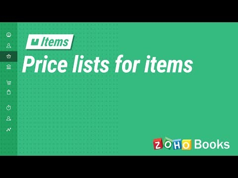 Price Lists for Items| Zoho Books