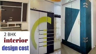 2.5 To 4 Lakhs 2 bhk interior design cost in Hyderabad Tv unit Bedroom cupboard modular kitchen