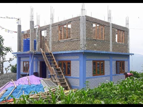 Family house construction - Low cost, earthquake resistant - Interlocking Bricks Nepal
