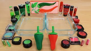 Green vs Red - Mixing Makeup Eyeshadow Into Slime Special Series 227 Satisfying Slime Video