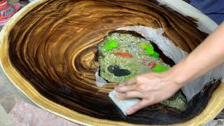 How to sand and polish epoxy table - resin art - Art Working