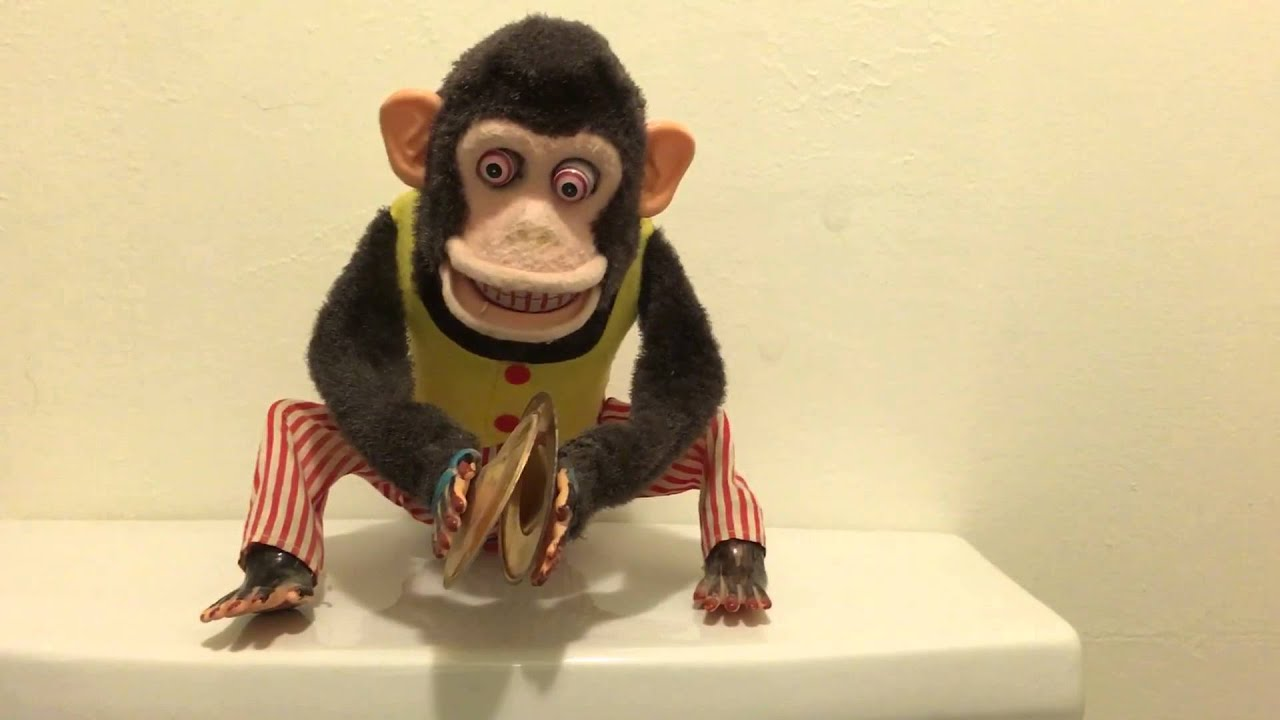 Mechanical Monkey Chimp Clapping Cymbals Rare Vintage Toy Made In