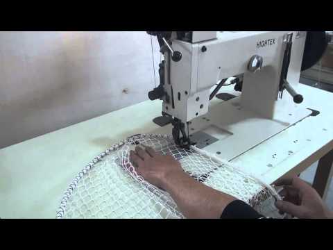Straight stitch and zigzag sewing machine for attaching ropes to netting