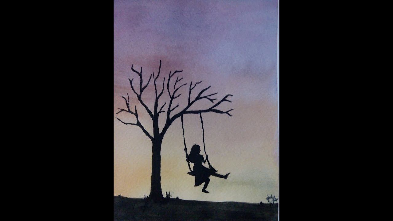 Water color painting3alone girl hemant arts