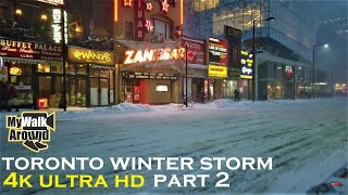 Winter storm downtown Toronto part 2 (walking tour in 4k)