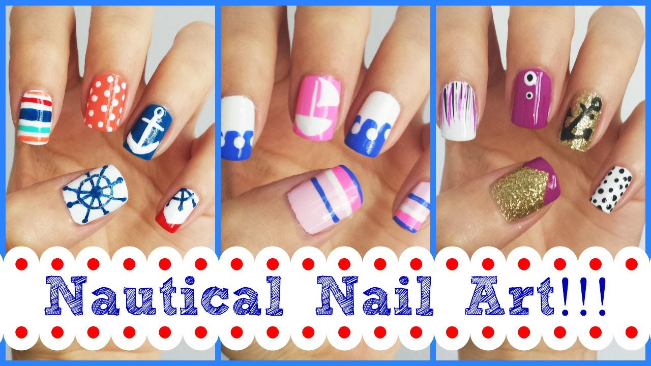 nautical nail art three easy