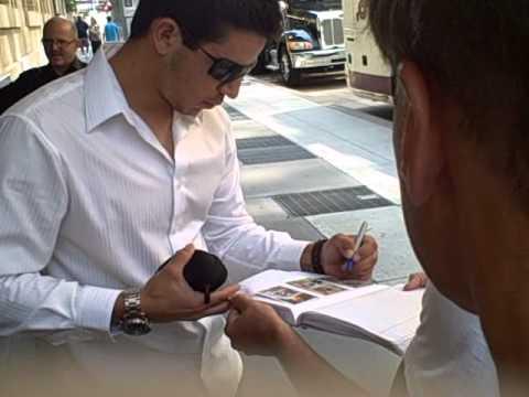 Tom Milone of The Oakland Athletics signing autographs