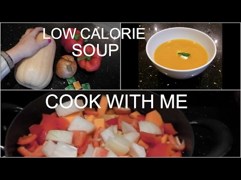 LOW CALORIE BUTTERNUT SQUASH & RED PEPPER SOUP | COOK WITH ME