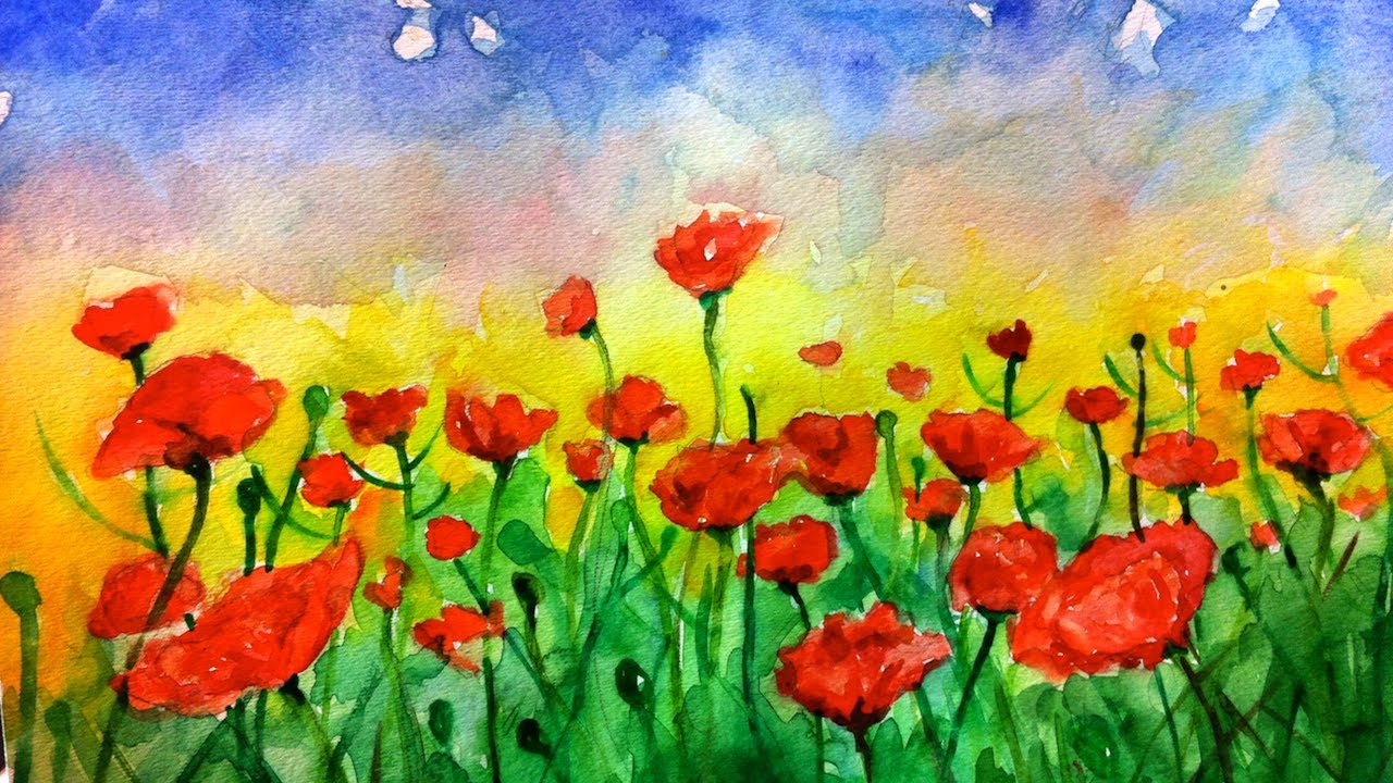 timelapsed painting watercolor poppies youtube