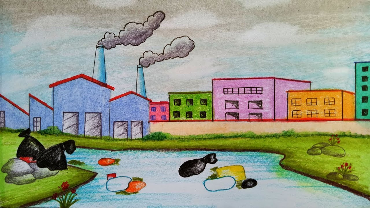 How to draw scenery of Environmental Pollution.Step by ...