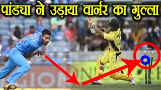 India vs Australia 3rd ODI : Hardik Pandya clean Bowls  David Warner | वनइंडिया हिंदी